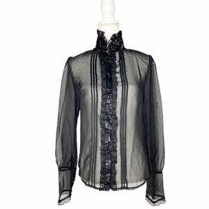 VOODOO VIXEN Sheer Button Down High Collar Top